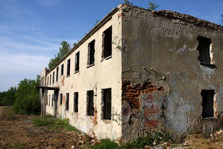 urban decline: Old abandoned office building in Upper Silesia region of Poland. Perfect location for industrial urban exploration. Stock Photo
