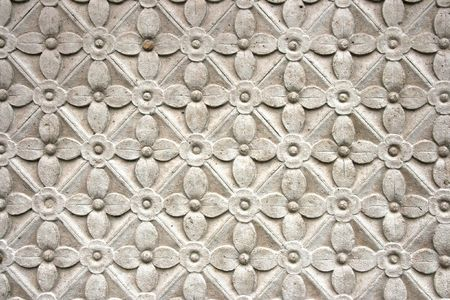 stone carvings: Intricate floral pattern on Amiens cathedral exterior. Architecture detail. Stock Photo
