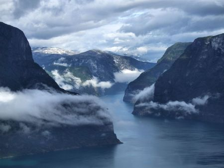 Scenery near Flam and Aurland - Norway, Scandinavia, Europe. Beautiful fjord and coast. Incredible clouds. Sogn district. Stock Photo - 5049797