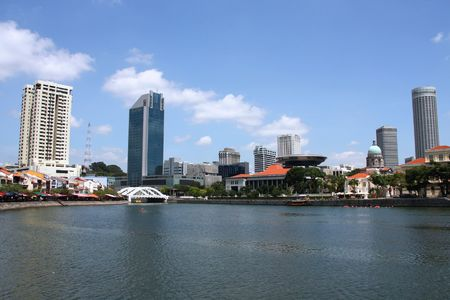 Skyline of Singapore. Modern Asian city. Skyscrapers waterfront. Stock Photo - 5099885
