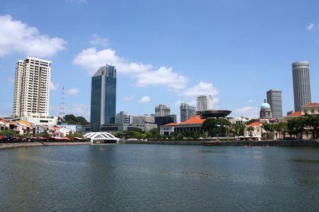 Skyline of Singapore. Modern Asian city. Skyscrapers waterfront. Stock Photo - 5099885