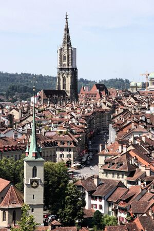 prominent: Bern, Switzerland. Beautiful old town. Prominent cathedral tower.
