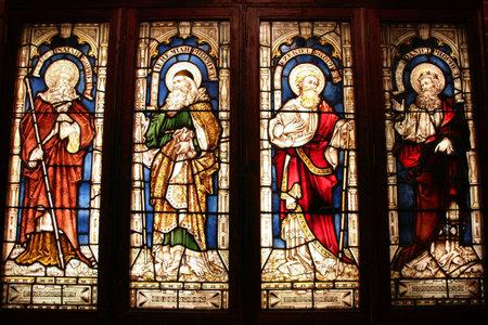 glas kunst: St. George's Anglican Cathedral glas kunst - vier bijbelse profeten: Jesaja, Jeremia, Ezechiël, Daniel. Perth, Western Australia.