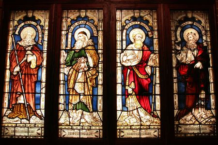 isaiah: St. Georges Anglican Cathedral stained glass art - four biblical prophets: Isaiah, Jeremiah, Ezekiel, Daniel. Perth, Western Australia.