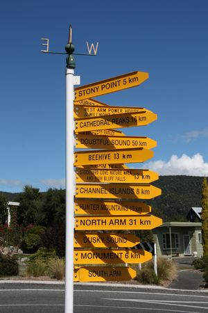 Destinations in New Zealand - variety of direction signs in Manapouri