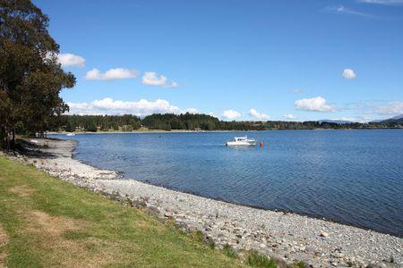 Te: Famous Lake Te Anau on South Island, New Zealand