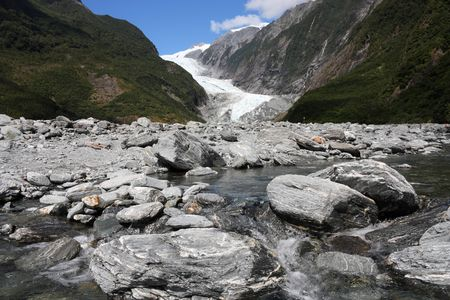 franz josef: Franz Josef Glacier in Westland National Park on the West Coast of New Zealands South Island. Southern Alps mountains.