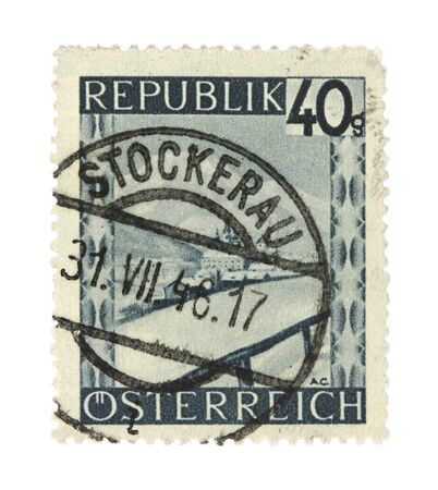 collectible: Old stamp from Austria. Cancelled in Stockerau in 1946. Stock Photo