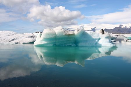 jokulsarlon: Iceberg on Jokulsarlon lagoon in Iceland. Famous lake. Travel destination for tourists next to Vatnajokull glacier.