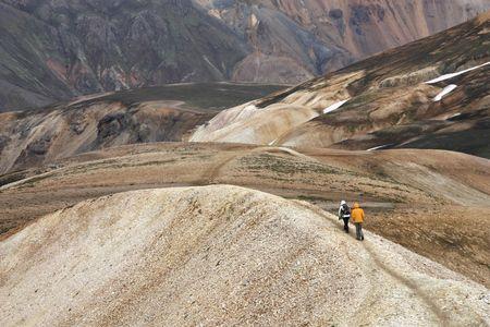 felsic: Mountain hiking in Iceland. Beautiful mountains. Famous volcanic area with rhyolite rocks - Landmannalaugar. Stock Photo