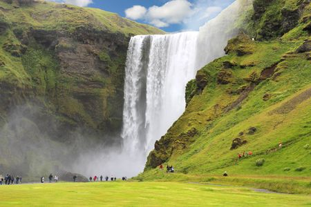Skogafoss - famous Waterfall near Skogar in Icealnd. Beauty in nature. Stock Photo - 5378428