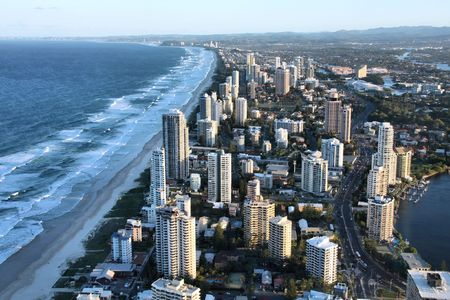 townscape: Apartment buildings - Surfers Paradise city in Gold Coast region of Queensland, Australia