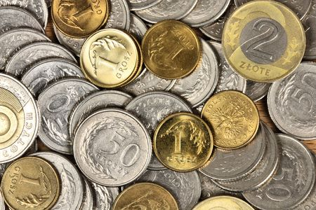 Money background. Coins from Poland. Financial texture abstract. photo