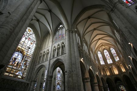 roman catholic: St. Michael and St. Gudula Cathedral located at the Treurenberg hill in Brussels, Belgium. Gothic church interior taken with fish-eye lens. Editorial