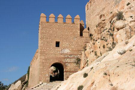 alcazaba: Alcazaba - fortified Moorish castle on a rock in Almeria, Andalusia, Spain. Stock Photo