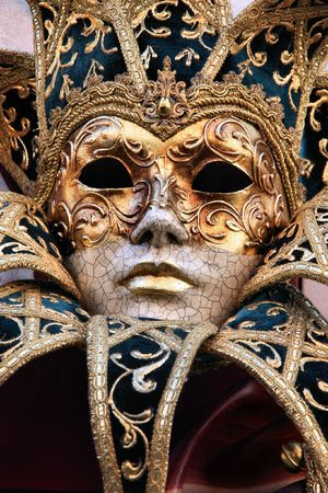 Venice carnival mask. Famous traditional decoration from Venezia, Italy. photo