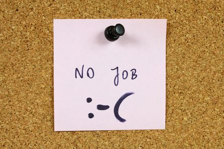Pink small sticky note on an office cork bulletin board. Unemployment and job crisis concept. Looking for a new career. Stock Photo - 5602283