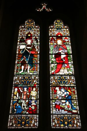 Saint John the Baptist and Saint Philip. Stained glass in Christchurch Anglican Cathedral. New Zealand.