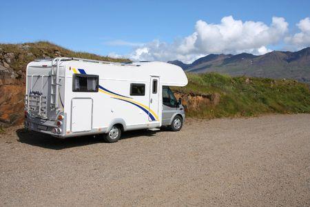 motorhome: Motorhome vehicle in Iceland. Parked camper van.