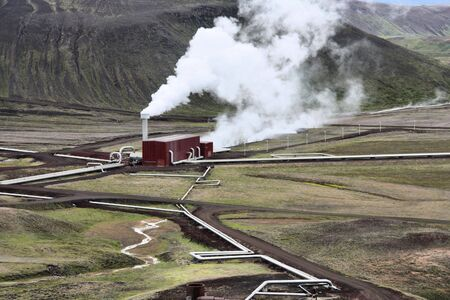Krafla Geothermal Power Station in Iceland - environmentally friendly green and renewable energy. Volcanic area. Stock Photo - 5671983