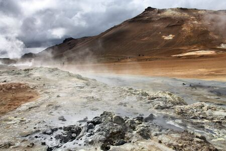 badland: Namafjall, Hverir area in Iceland. Geothermal activity - boiling mud and sulphuric formations.