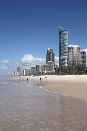 qld: Apartment buildings with prominent Q1, tallest residential building in the world - Surfers Paradise town in Gold Coast region of Queensland, Australia