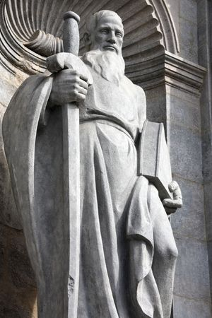 apostle paul: Saint Paul the Apostle - statue in facade of Girona Cathedral, Spain