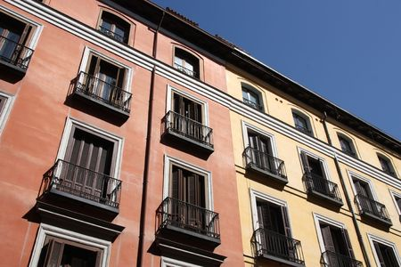 Mediterranean architecture in Spain. Old apartment buildings in Madrid. Stock Photo - 5672068