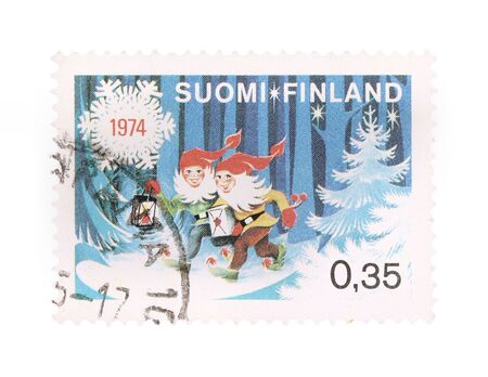 collectible: Collectible old stamp from Finland. Stamp with Christmas fairytale.