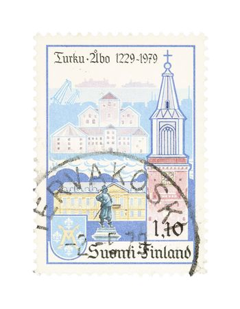 turku: Collectible old stamp from Finland. Stamp with Turku city. Stock Photo