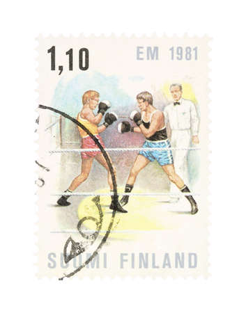 collectible: Collectible old stamp from Finland. Stamp with competitive boxing.