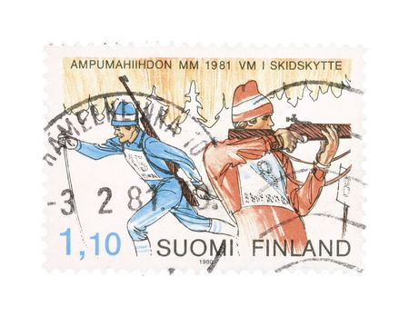 collectible: Collectible old stamp from Finland. Stamp with biathlon.