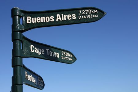 distances: Distance signs, showing directions to Buenos Aires, Cape Town and Hamburg.