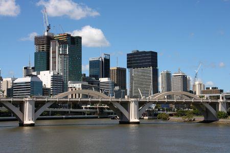 william: Brisbane skyline, Queensland. Beautiful cityscape and the river. Australia summer. William Jolly Bridge. Stock Photo