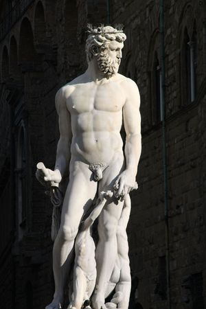 Famous statue of Neptune in Florence, Italy. Roman god of sea. photo