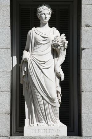 allegorical: Allegory of fertility. Allegorical statue in Prado Museum facade, Madrid, Spain. Stock Photo