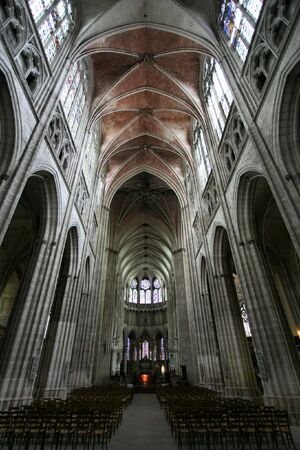 St. Etienne Cathedral in Auxerre, Burgundy region, France. Gothic church interior taken with fish-eye lens.