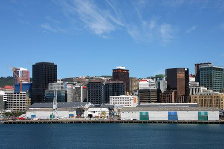 australasia: Wellington, capital city of New Zealand. Downtown skyscrapers, financial district.