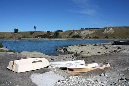 kaikoura: Boats on the coast. Kaikoura, South Island, New Zealand.