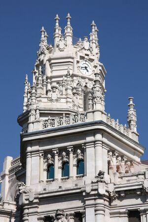 oficina antigua: Hermosa arquitectura en Madrid. Palacio de telecomunicaciones - antigua oficina de correos, sirviendo como el Ayuntamiento.