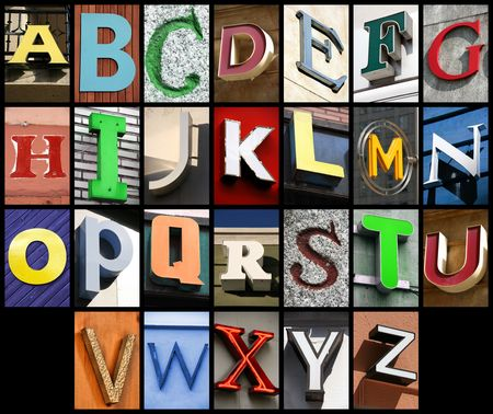 concepts alphabet: City ABC - alphabet collage. Colorful letters font from urban buildings.