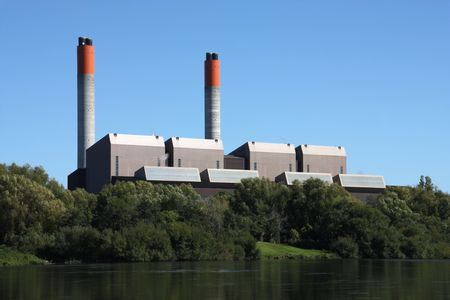 Huntly Power Station - the largest thermal power plant in New Zealand. Supplies 17% of country's power, as of 2009. It is coal and gas powered. Stock Photo - 5988753