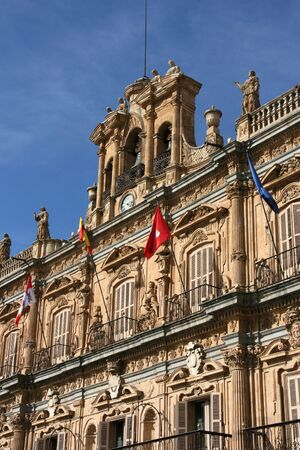 Architecture at Plaza Mayor - old town square in Salamanca, Castile, Spain photo