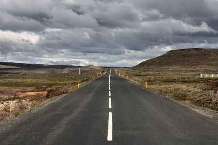 vanishing: Straight road in Iceland. Volcanic area of Krafla. Vanishing point.