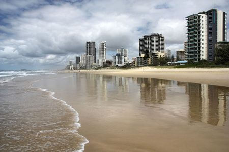 qld: Waterfront skyline of Surfers Paradise city in Gold Coast region of Queensland, Australia Stock Photo