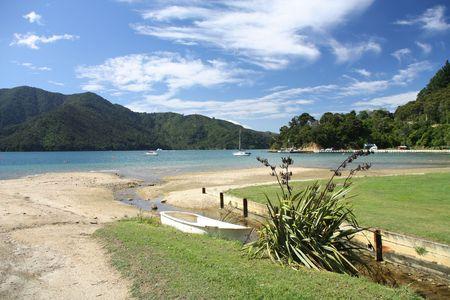 marlborough: Queen Charlotte Sound - famous scenic tourism destination in Marlborough region of New Zealand