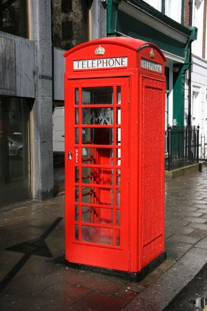 phonebox: London, traditional red telephone box - symbol of Great Britain.