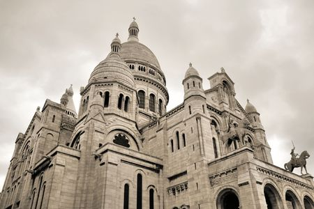 Sacre Coeur church - famous landmark of Montmartre district. Paris, France. Sepia colours. photo