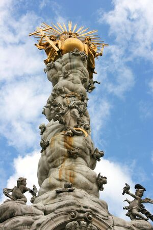 Famous landmark of Linz - Baroque Trinity Column (or Plague Column) in the middle of Hauptplatz (Main Square) Stock Photo - 6189669