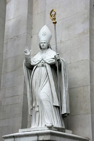 virgil: St. Vergilius of Salzburg - Catholic bishop statue at Salzburg Cathedral, Austria